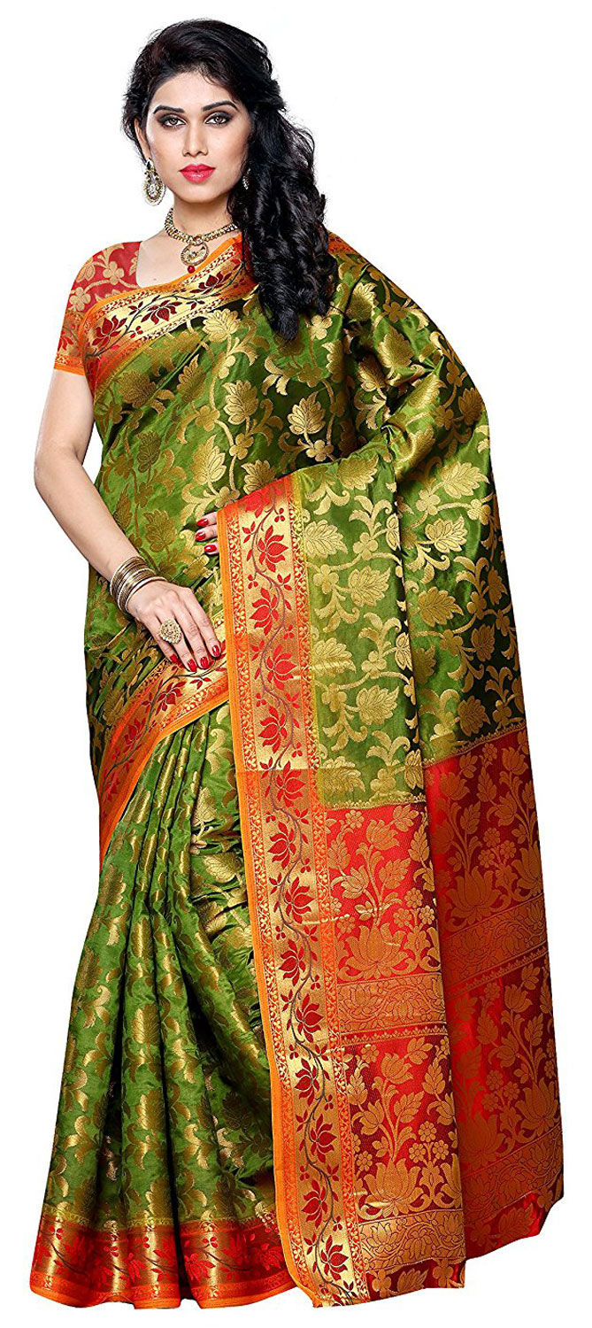 99aa710b6b 742398: Green color family Party Wear Sarees,Silk Sarees with ...