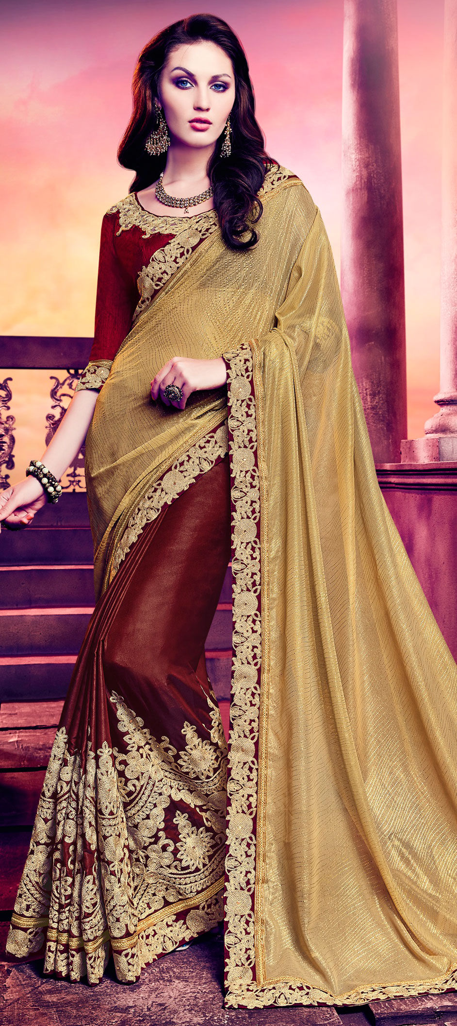 85e3c71297 744083: Gold,Red and Maroon color family Embroidered Sarees,Party ...