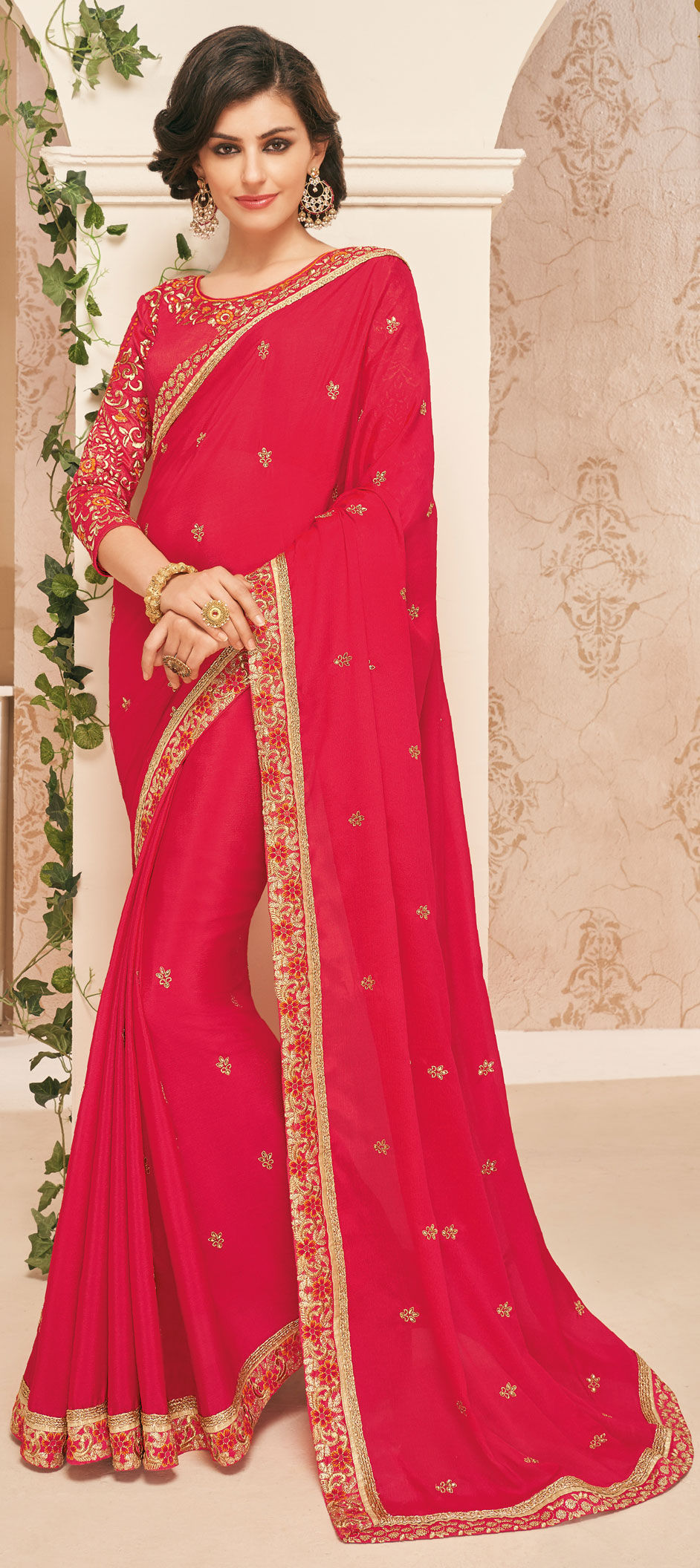a3b5f735e5b341 750976: Red and Maroon color family Embroidered Sarees, Party Wear ...