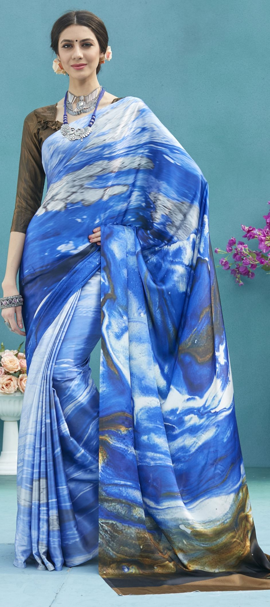 9a23fe89205880 764928: Multicolor color family Silk Sarees with matching unstitched ...