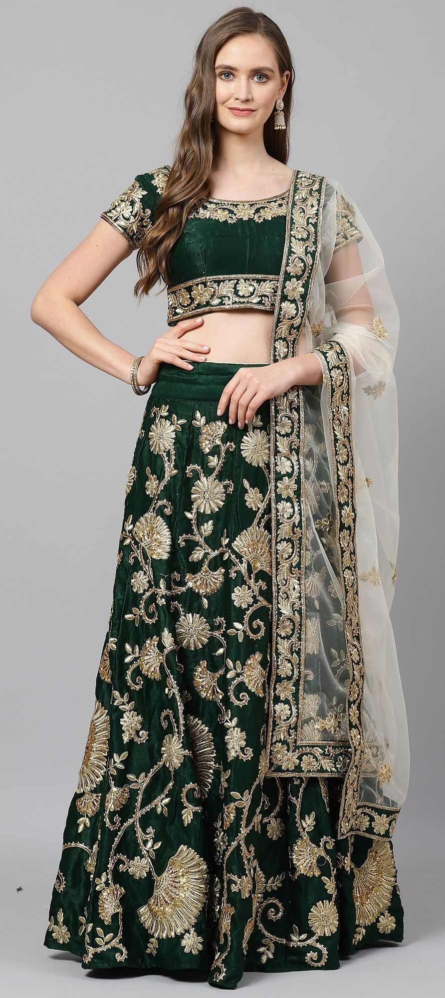 Semi Velvet Party Wear Lehenga in Green with Embroidered work