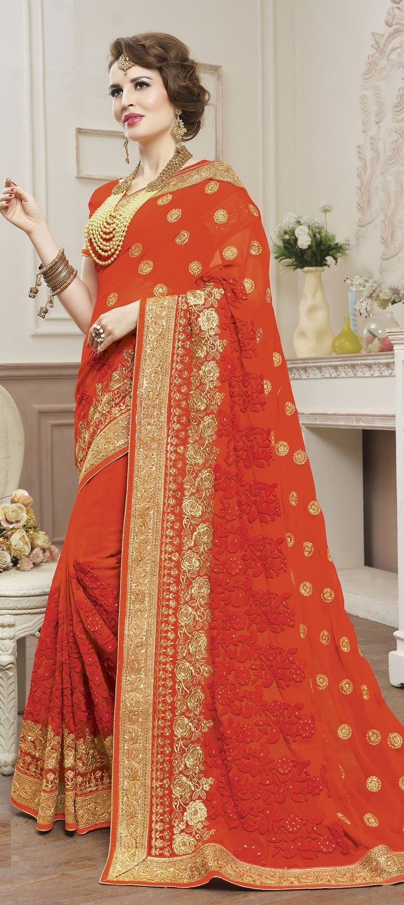 713040ca3c 766330: Orange color family Embroidered Sarees, Party Wear Sarees ...