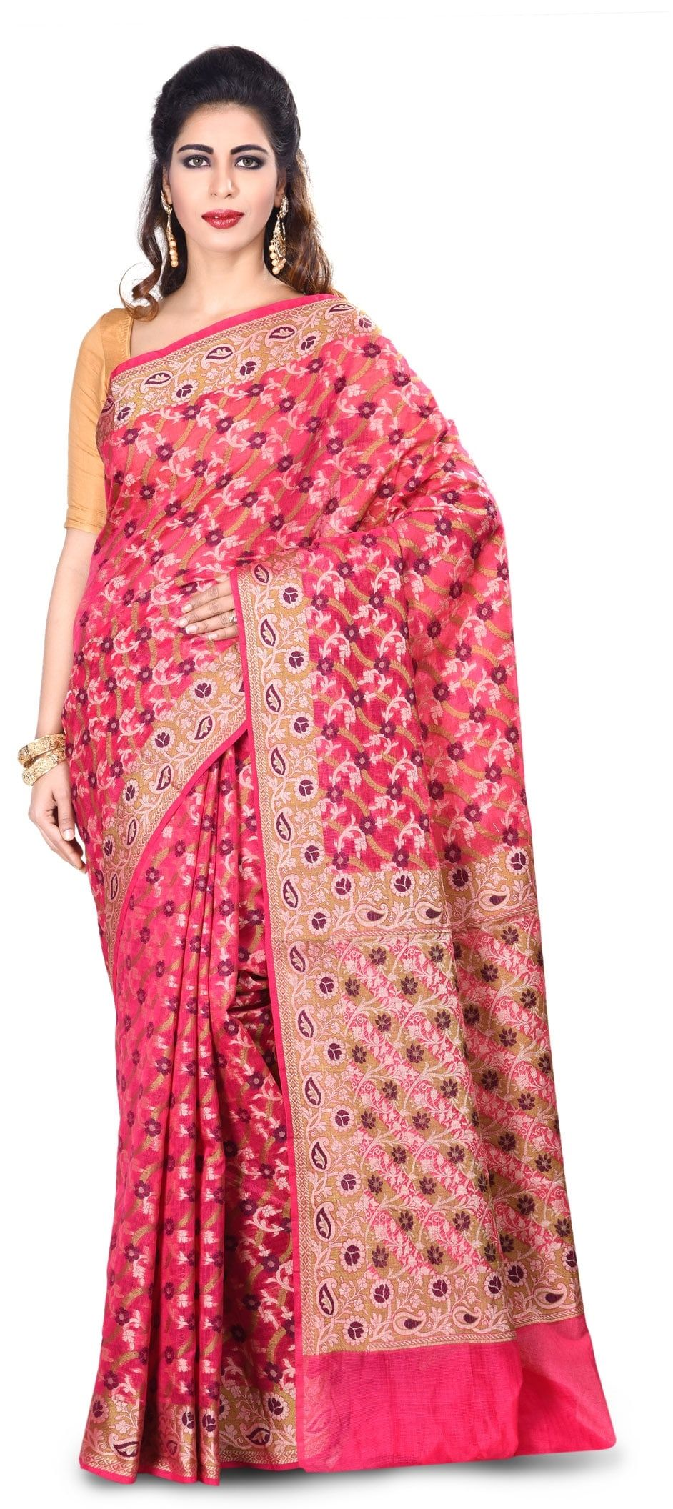 3a75ffc68d 767021: Pink and Majenta color family Party Wear Sarees with ...