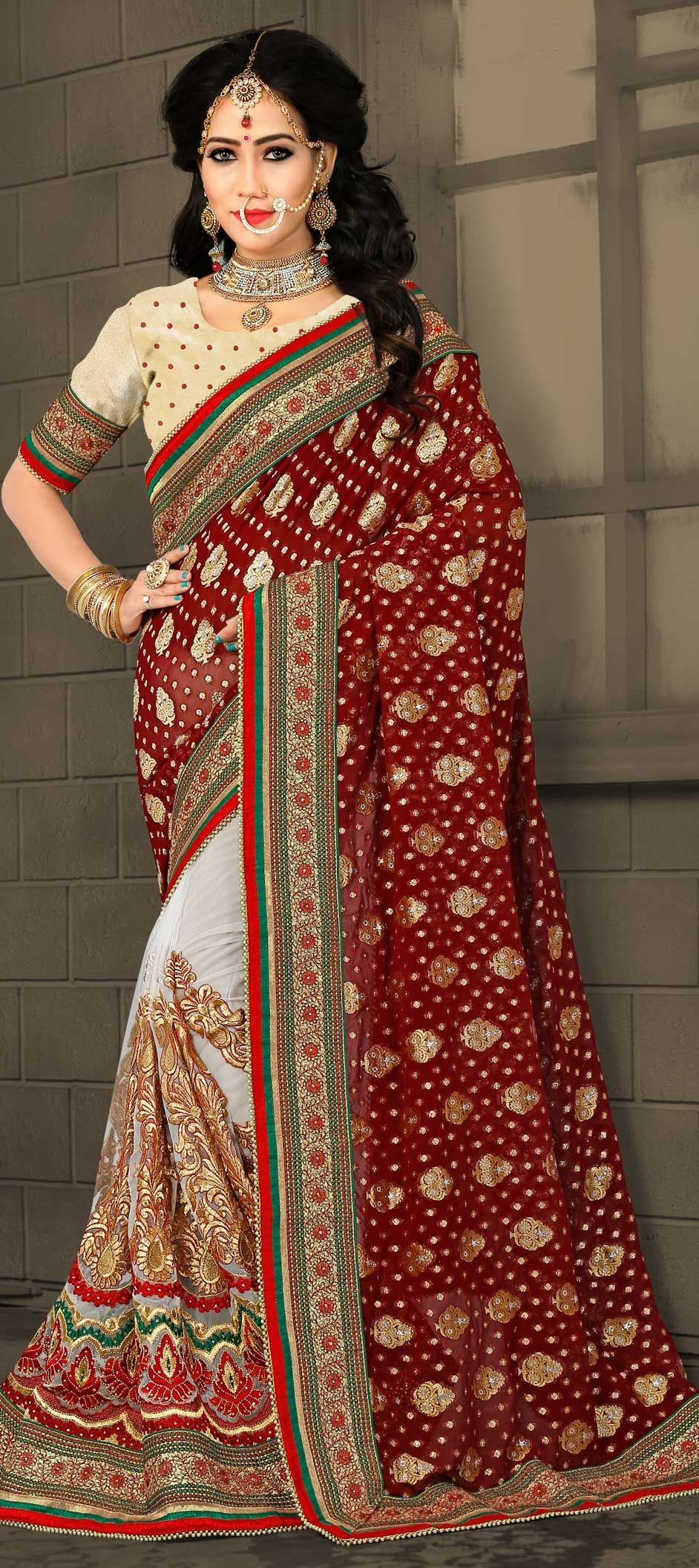 e0a3d4fd661b 767535: Red and Maroon, White and Off White color family Bridal ...