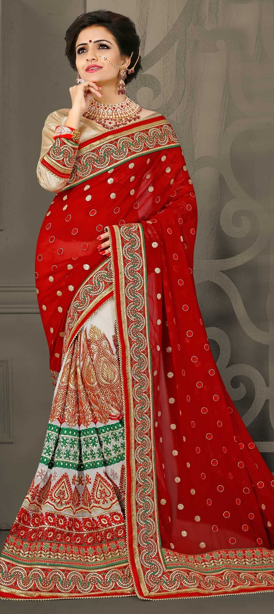 3eb5247fed47 767537: Red and Maroon, White and Off White color family Bridal ...