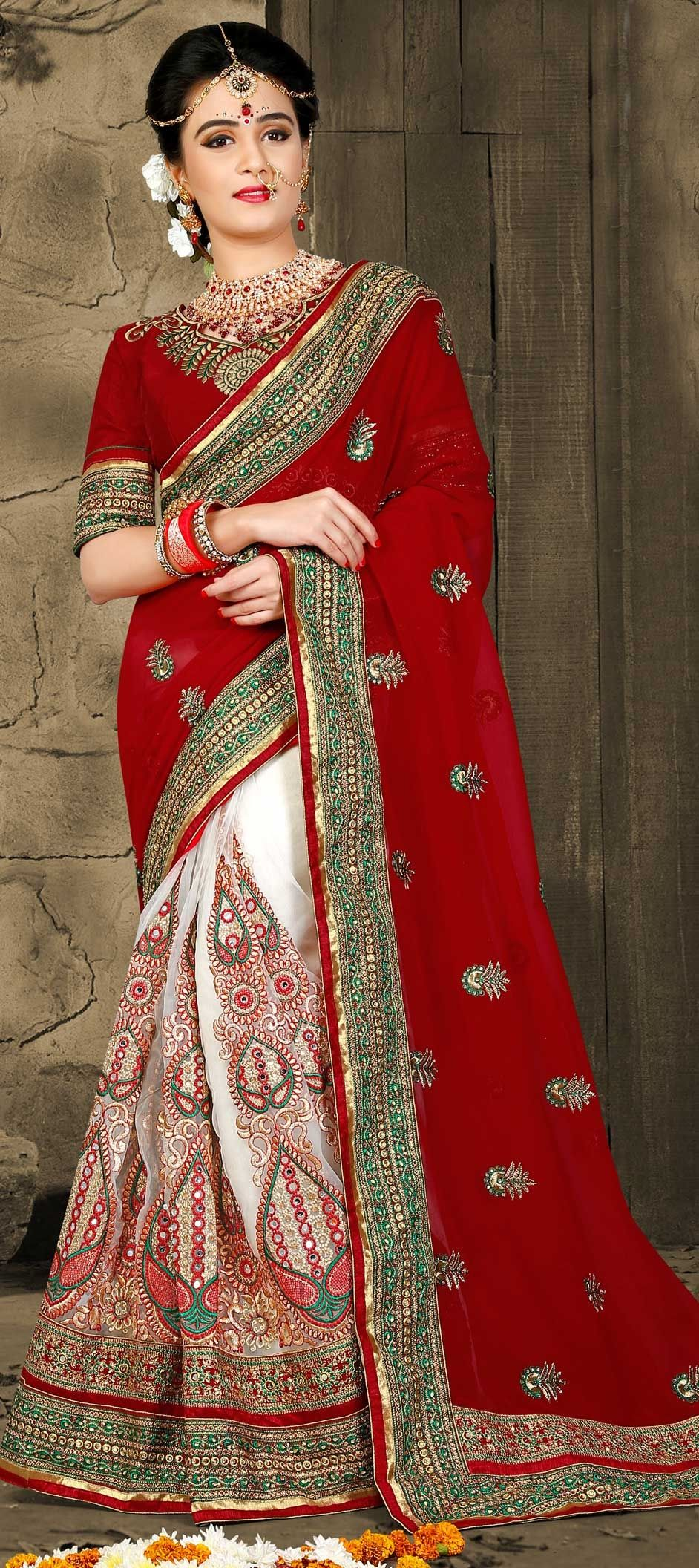 485b45043a5f 767538: Red and Maroon, White and Off White color family Bridal ...