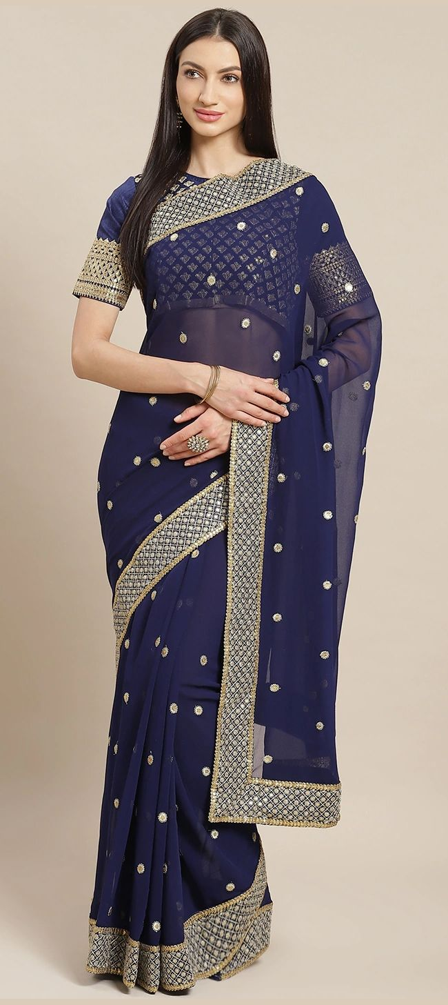 Blue Georgette Party Wear Sarees