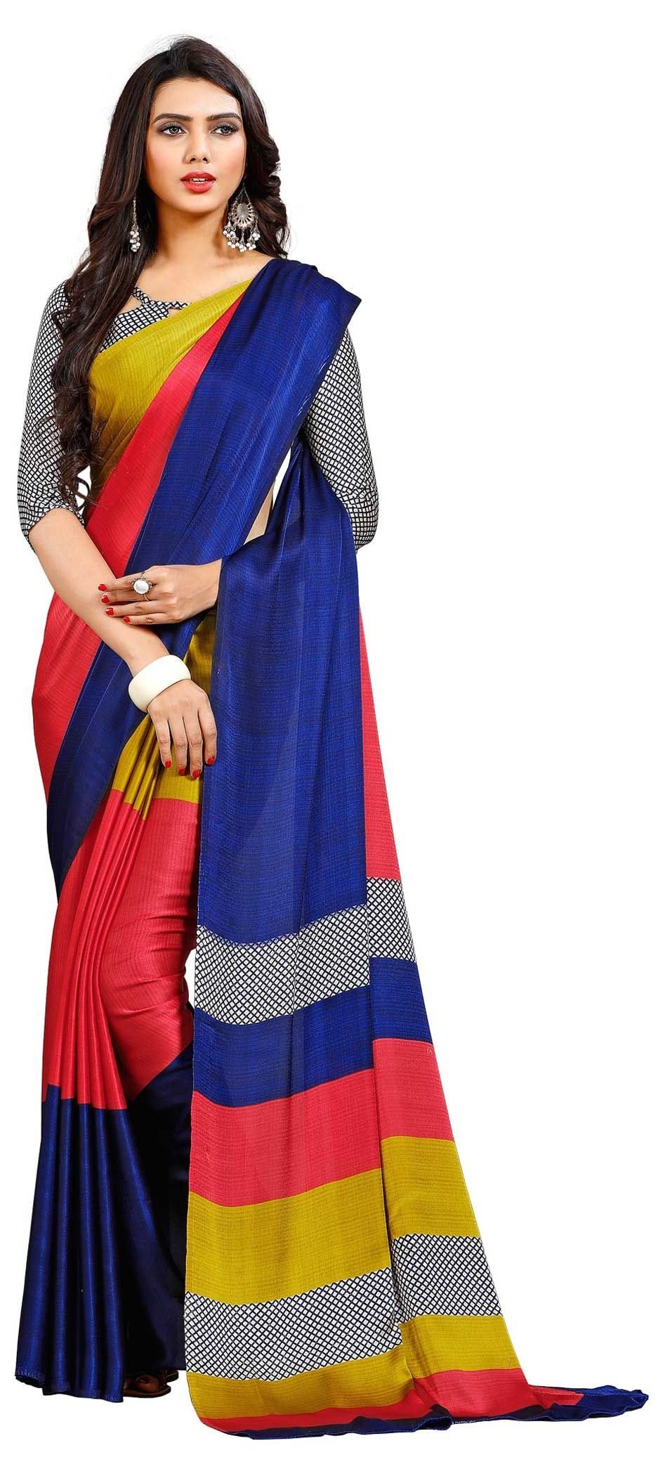 442b99319a3119 769670: Multicolor color family Printed Sarees, Silk Sarees with ...
