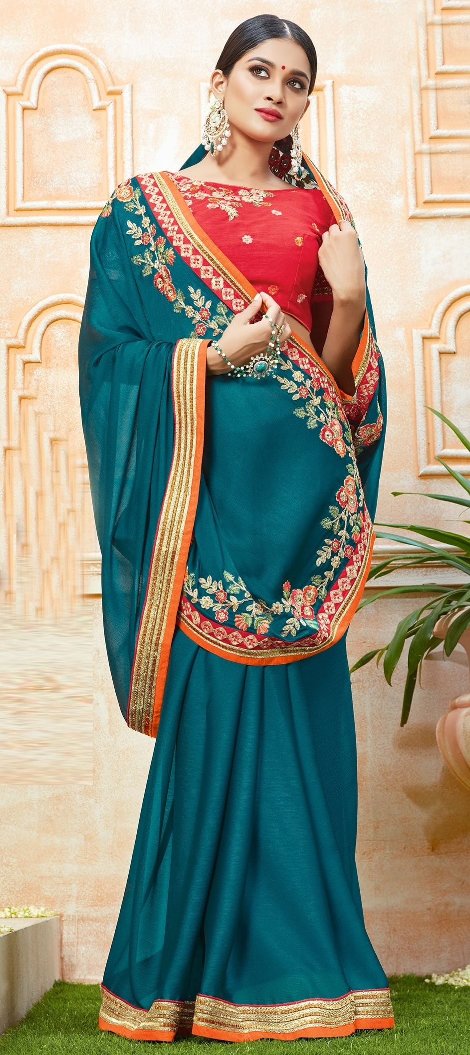 93c0ccbd2fc 772046  Blue color family Embroidered Sarees