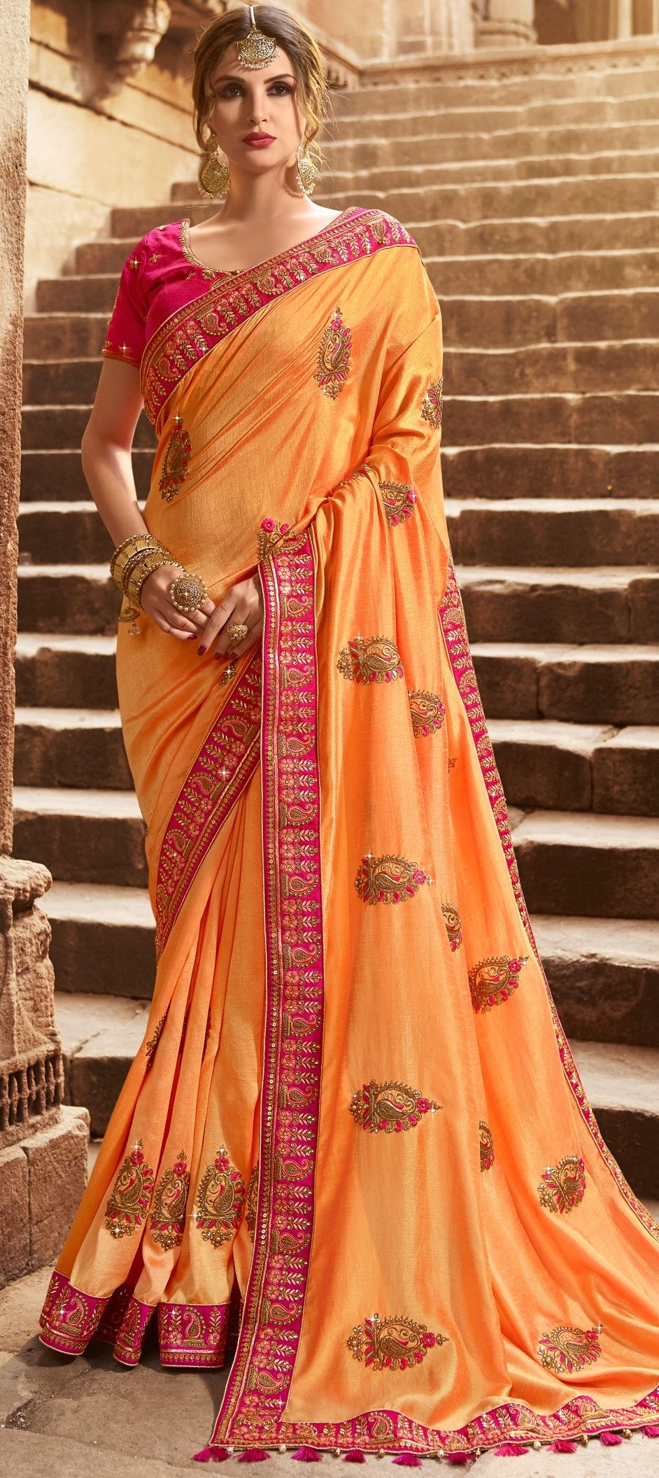 0d2e0b263e 772792: Orange color family Party Wear Sarees with matching ...
