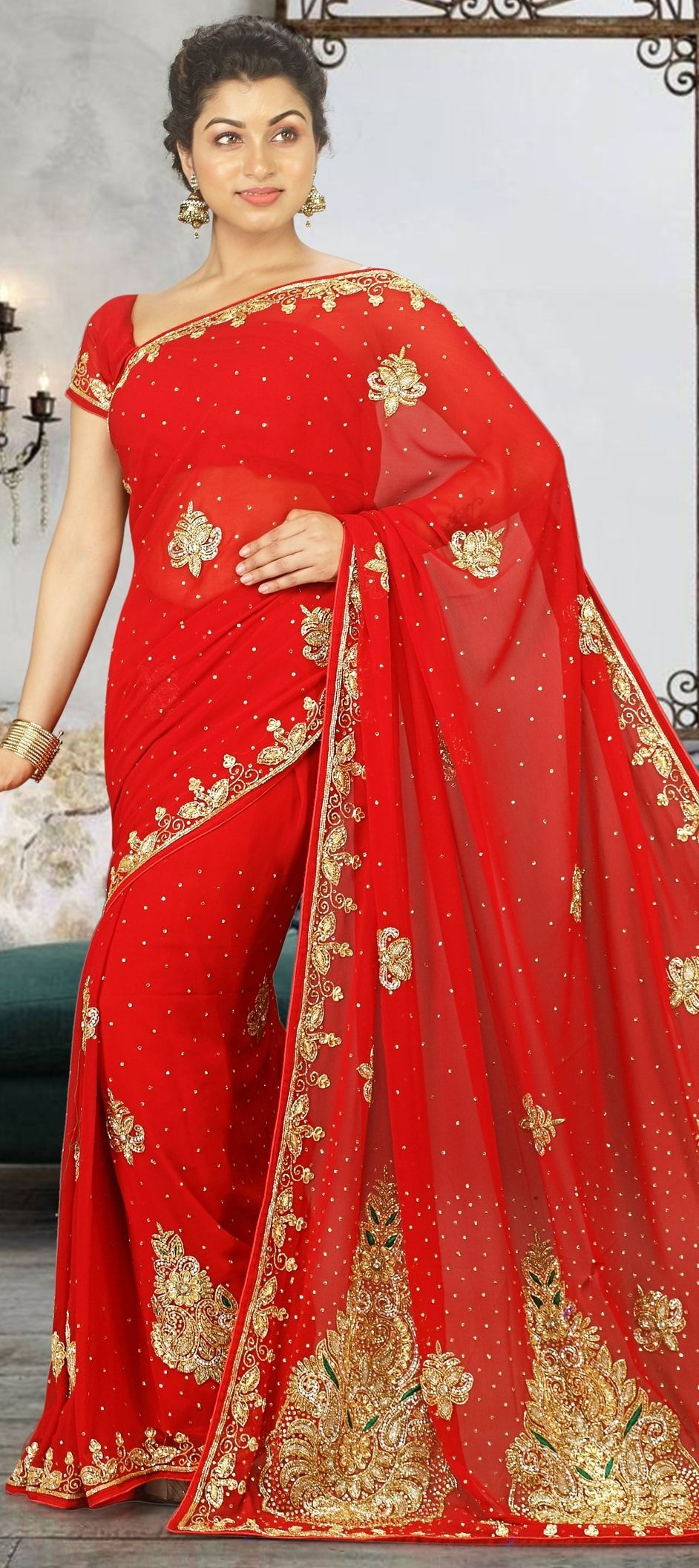 981c146c3c3 773255  Red and Maroon color family Bridal Wedding Sarees with ...