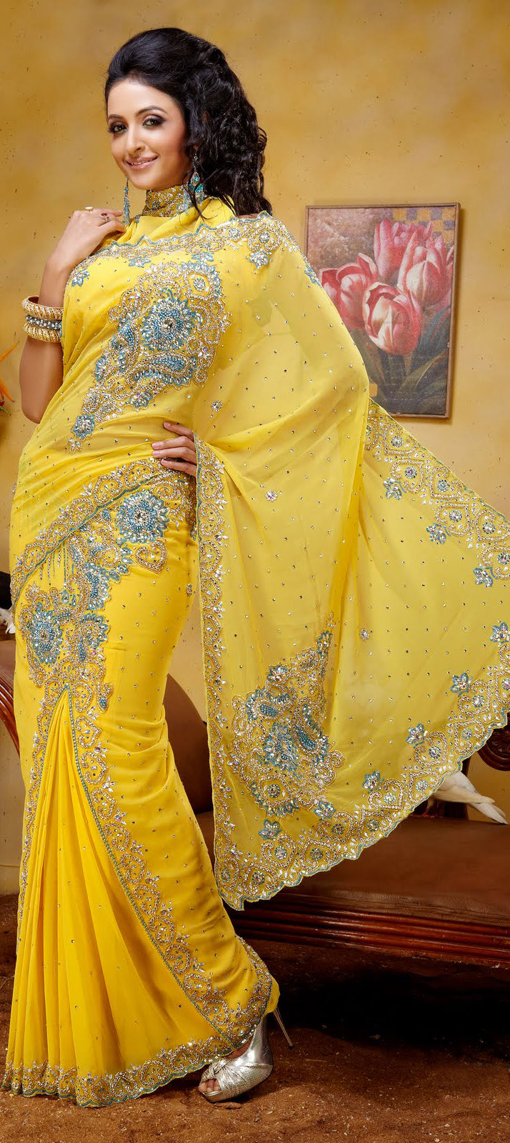 77368 yellow color family saree