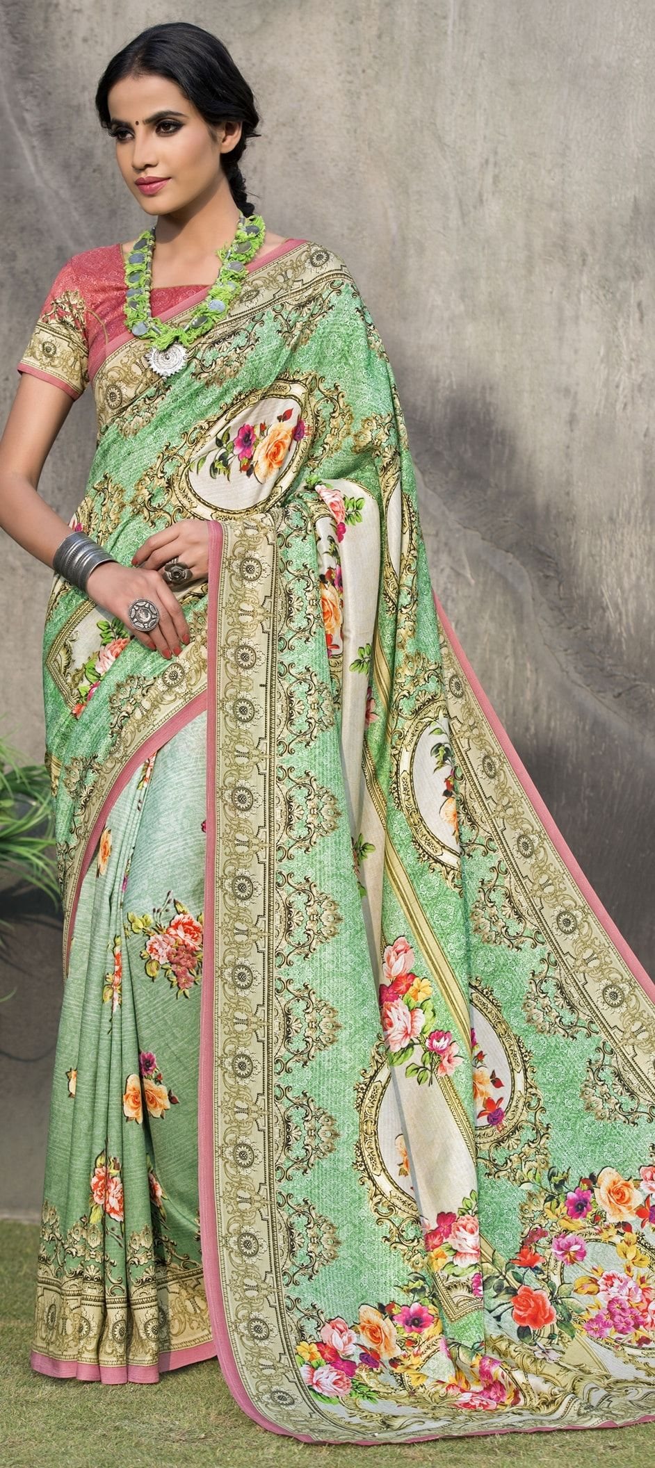 green+colour+tussar+silk+saree