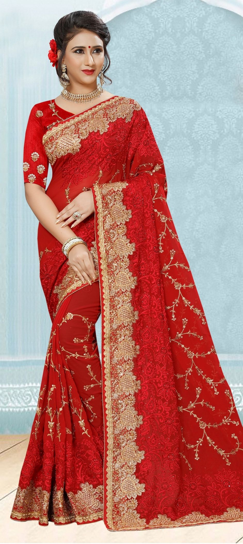 5a652e1a1bf 775317  Red and Maroon color family Bridal Wedding Sarees with ...