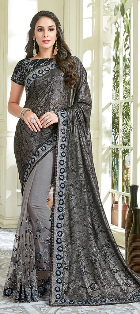 e7dd0dd698743d 776329: Black and Grey color family Embroidered Sarees, Party Wear ...