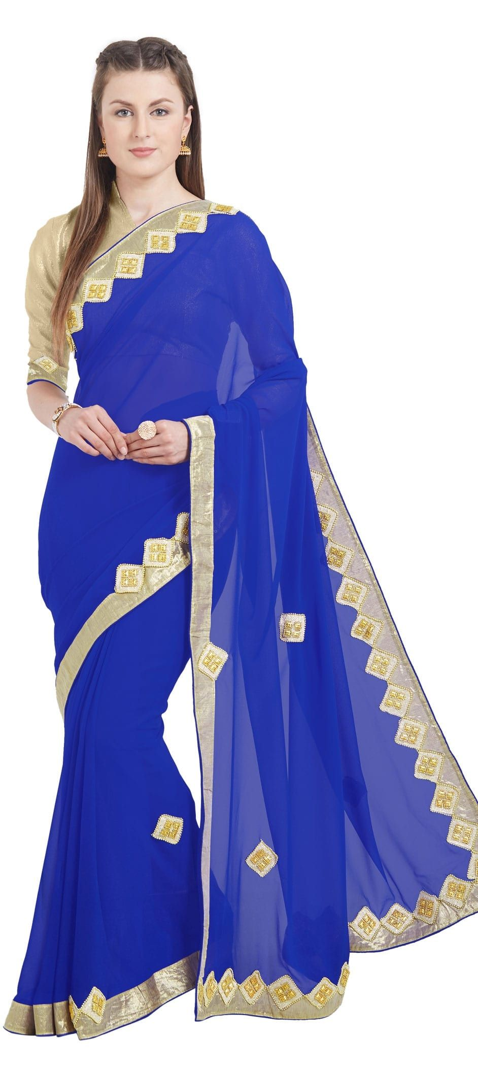 e5899747a95 776793  Blue color family Party Wear Sarees with matching unstitched ...