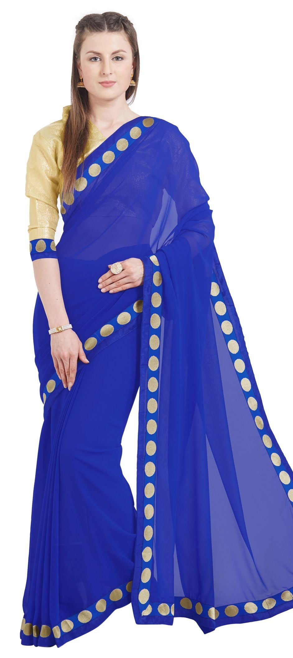 fa4096977b9 776796  Blue color family Party Wear Sarees with matching unstitched ...