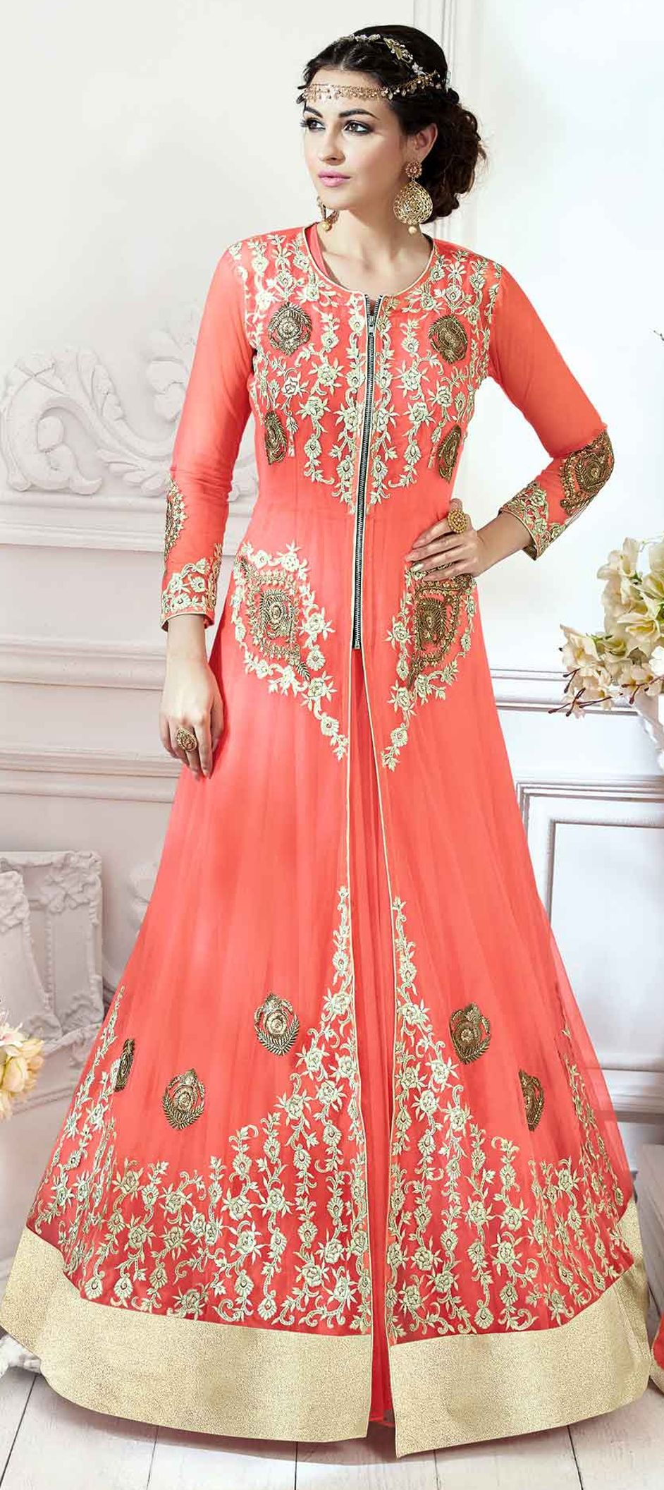 602043523b 900139: Pink and Majenta color family unstitched Anarkali Suits .