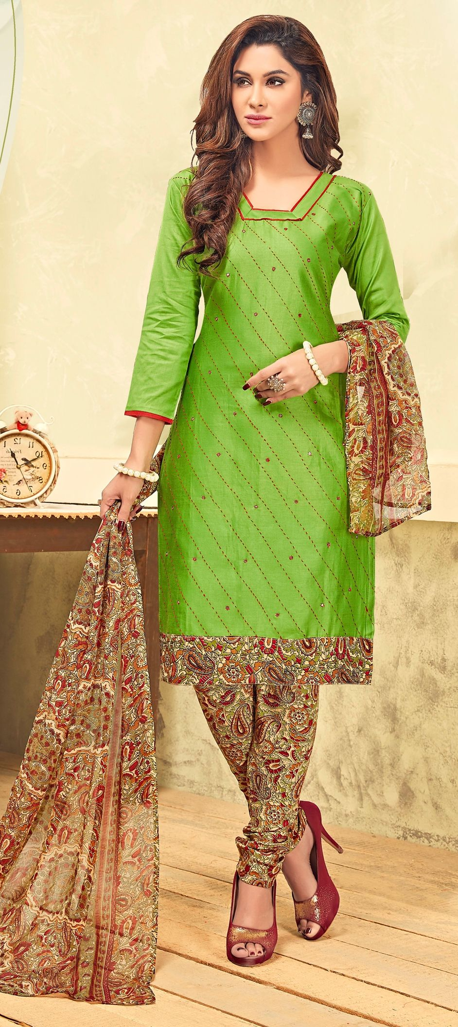 a26e9a3d2c 903201: Green color family unstitched Cotton Salwar Kameez, Party ...