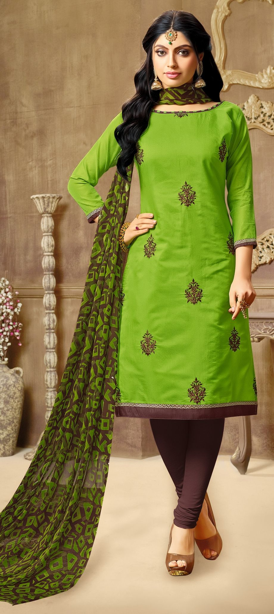 3c86a49540 903363: Green color family unstitched Party Wear Salwar Kameez .