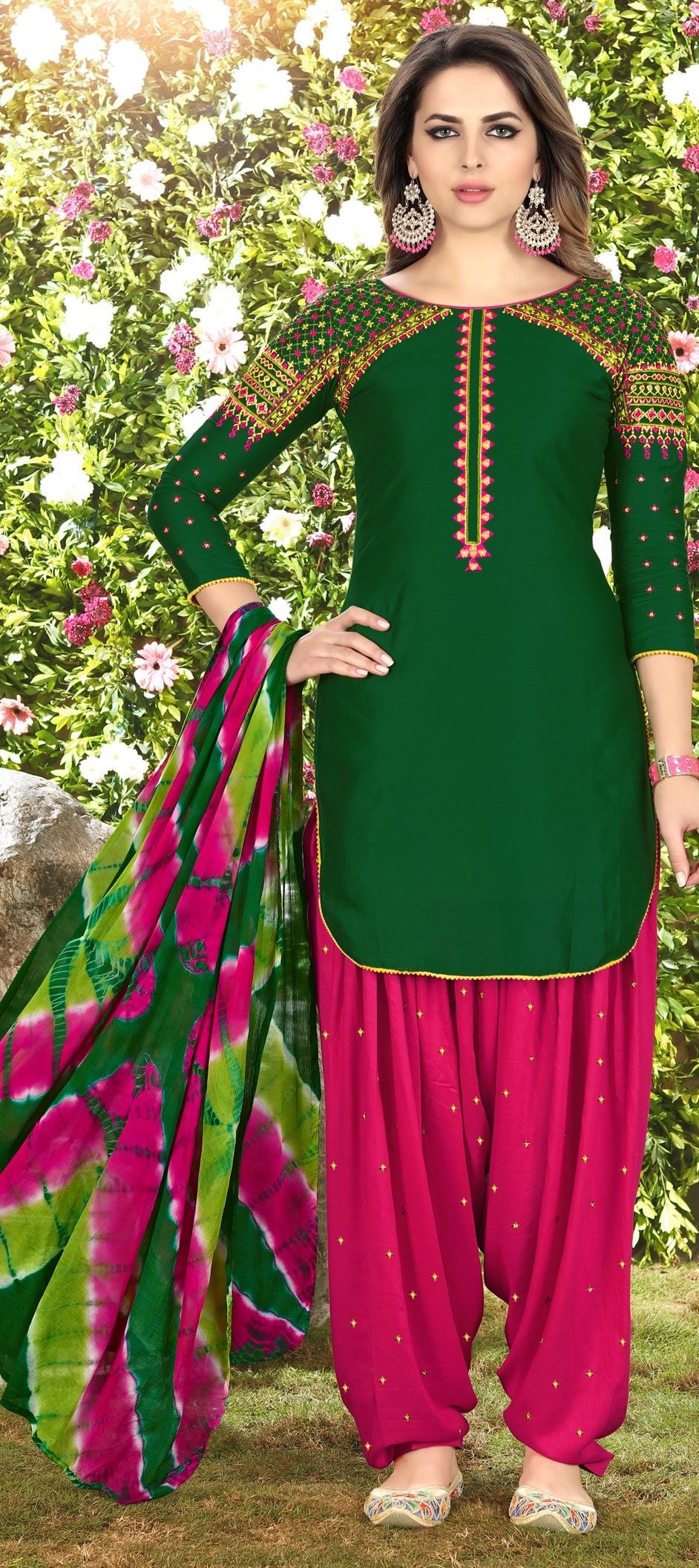 204108a97e 905722: Green color family unstitched Party Wear Salwar Kameez .