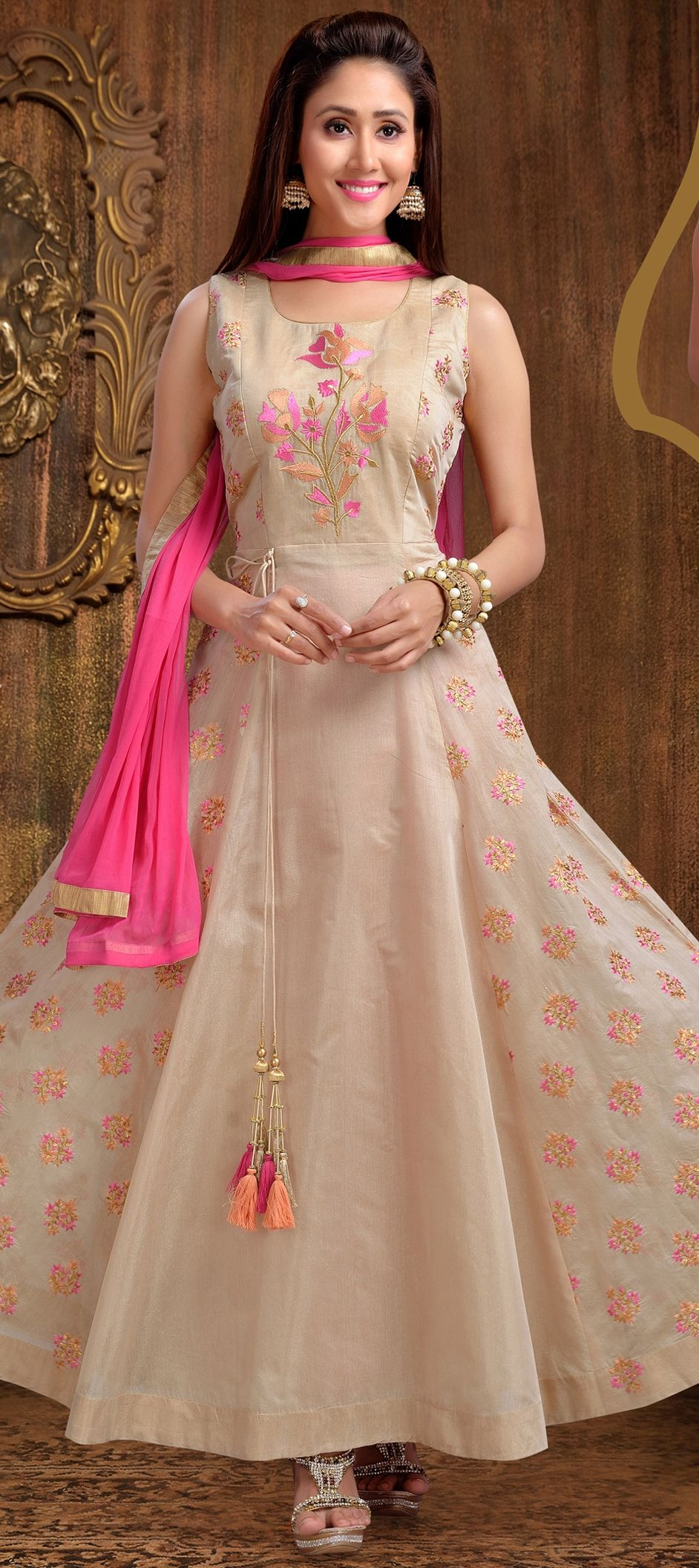 c57f4dc788 907764: Beige and Brown color family stitched Anarkali Suits .