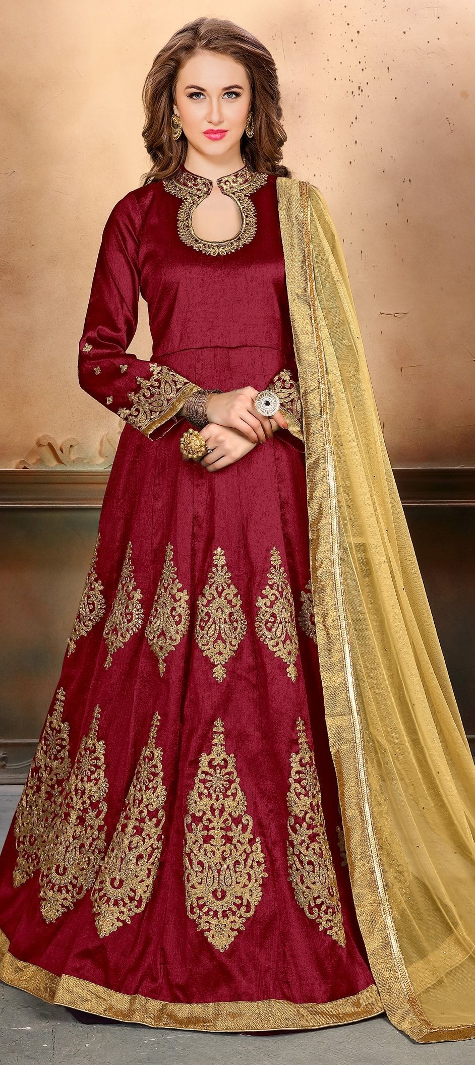 87fb47e481 909536: Red and Maroon color family stitched Anarkali Suits .