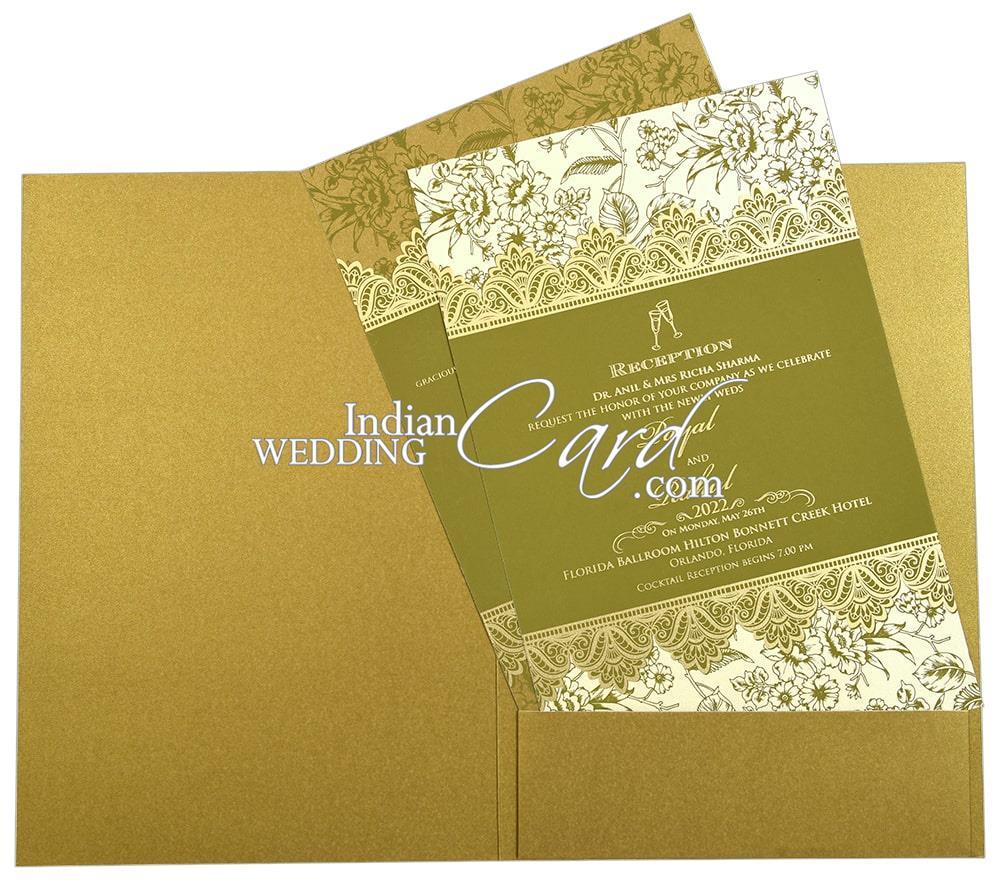 gold color floral border based sikh wedding card  d9217