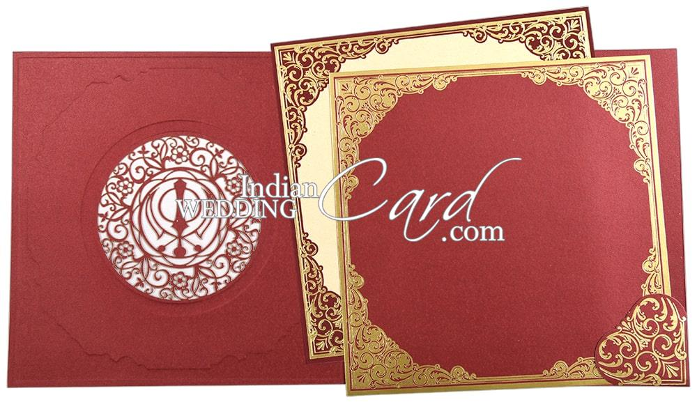 red color laser cut theme with baroque foil border sikh