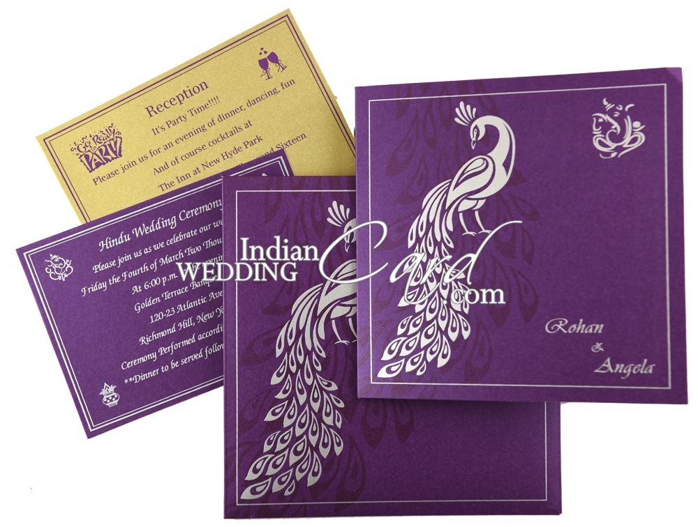 Peacock Theme Wedding Card