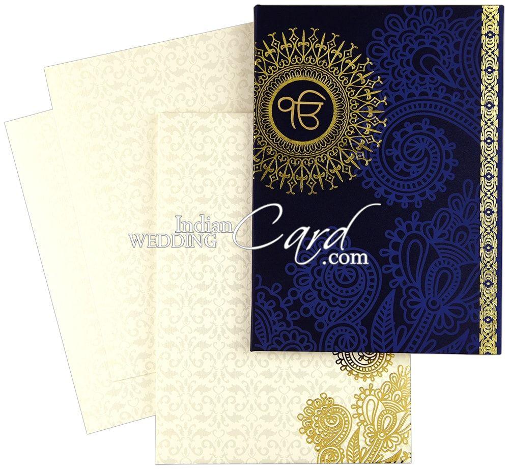 hardbound thick blue satin sikh wedding card  d8613