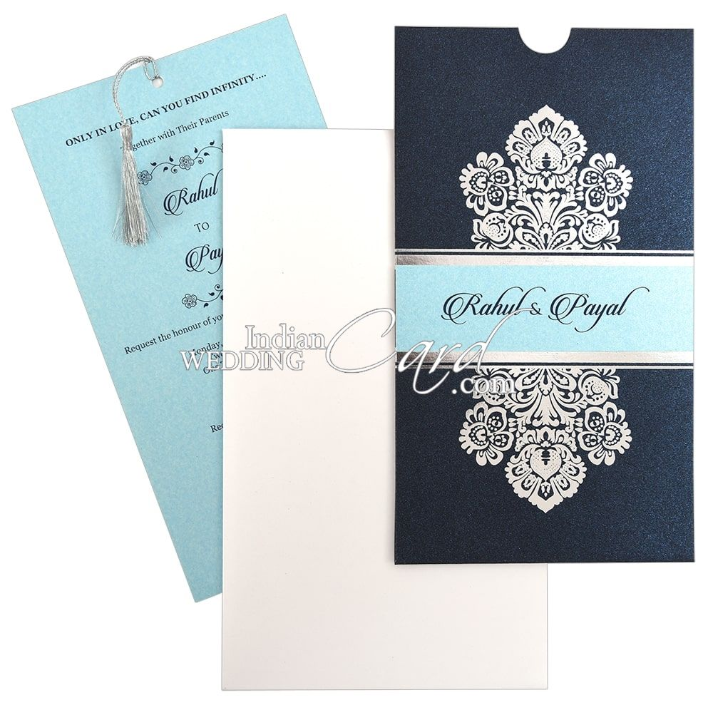 Blue Colored Pocket Wedding Card With Silver Tassel D 8932 A 2019