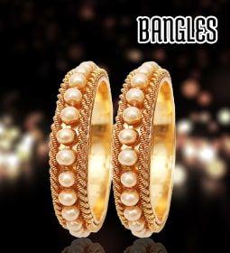 Gold Bangles with Rhodium Polish, Latest Design of Silver Bangles