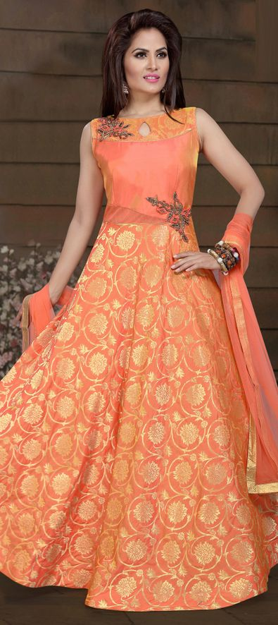 1524875: Party Wear Orange color Brocade fabric Salwar Kameez
