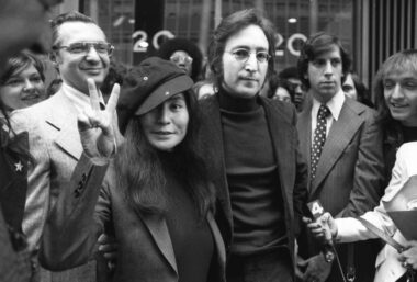 John Lennon & Yoko Ono with lawyer Leon Wiles.