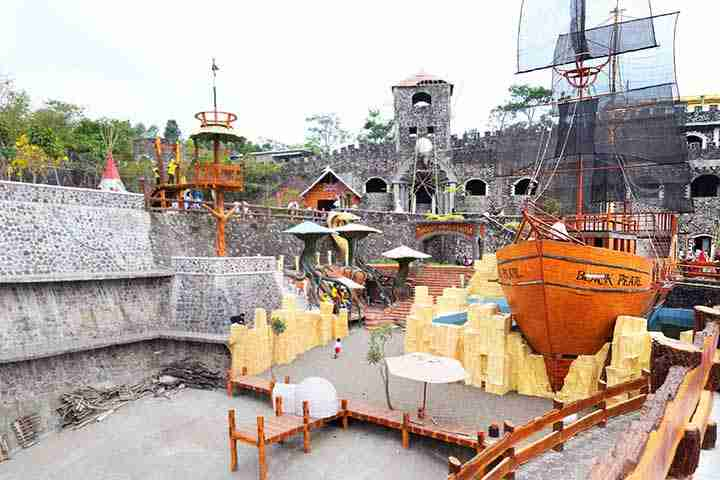 Tempat Wisata cocok untuk Anak berfoto ria dan berenang di Jogja: The Lost World Castle