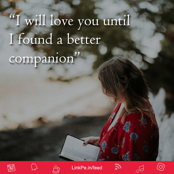 I will love you until I found a better companion