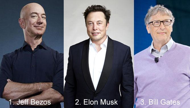 Jeff Bezos, Elon Musk, and Bill Gates
