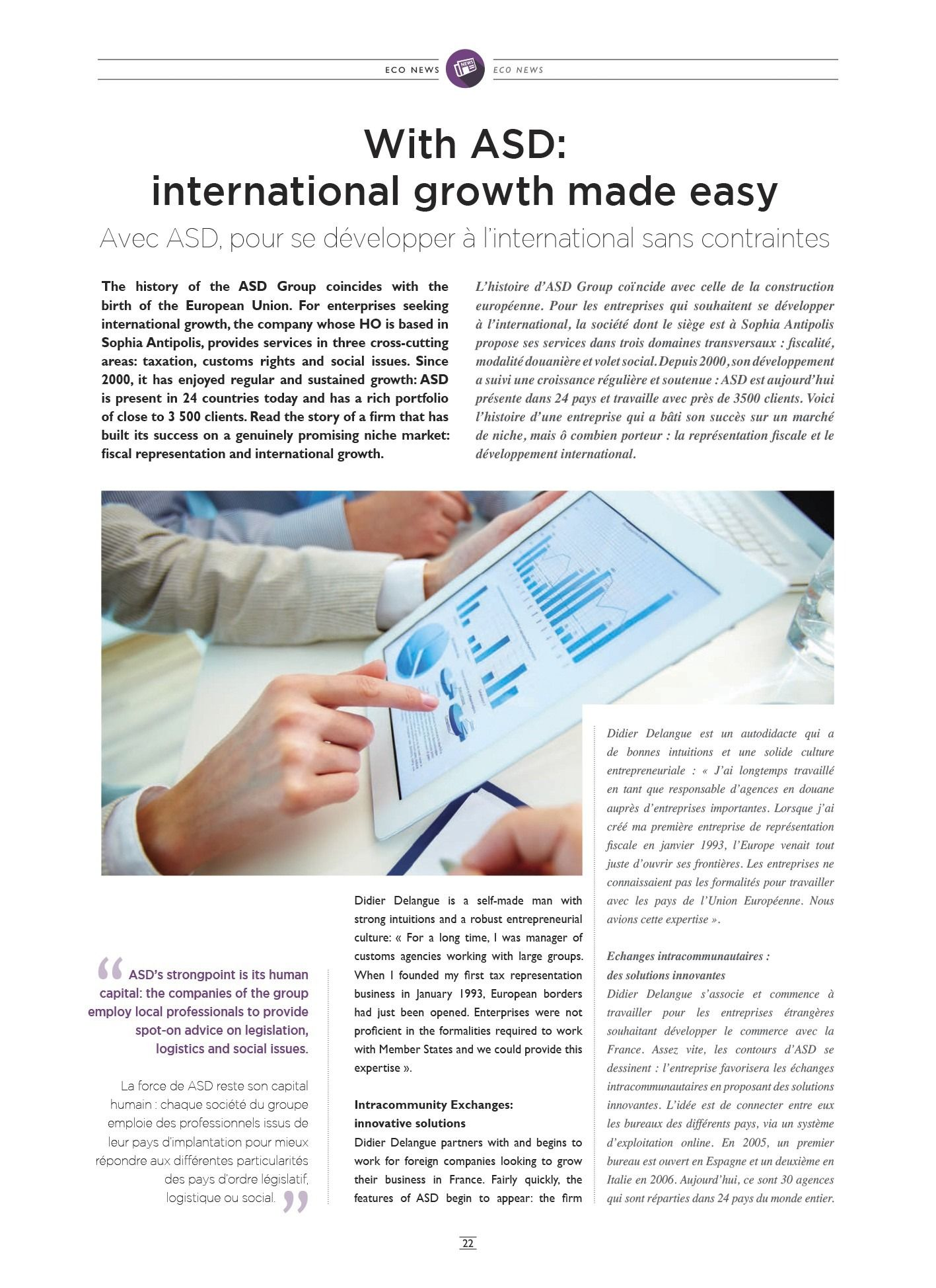 Asd Sa with asd: international growth made easy
