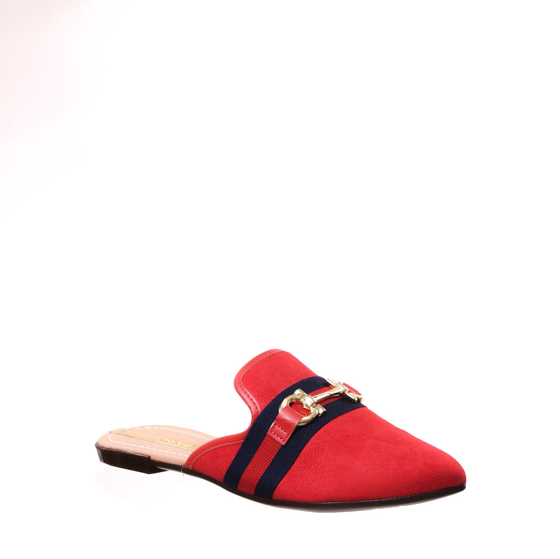 64e47ae4a8 Sapato Mule Moleca Camurça Detalhe Listra Fivela Bico Fino Vermelho e Azul  Marinho ...