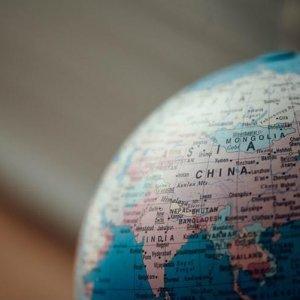 Weltkugel mit dem Fokus auf China