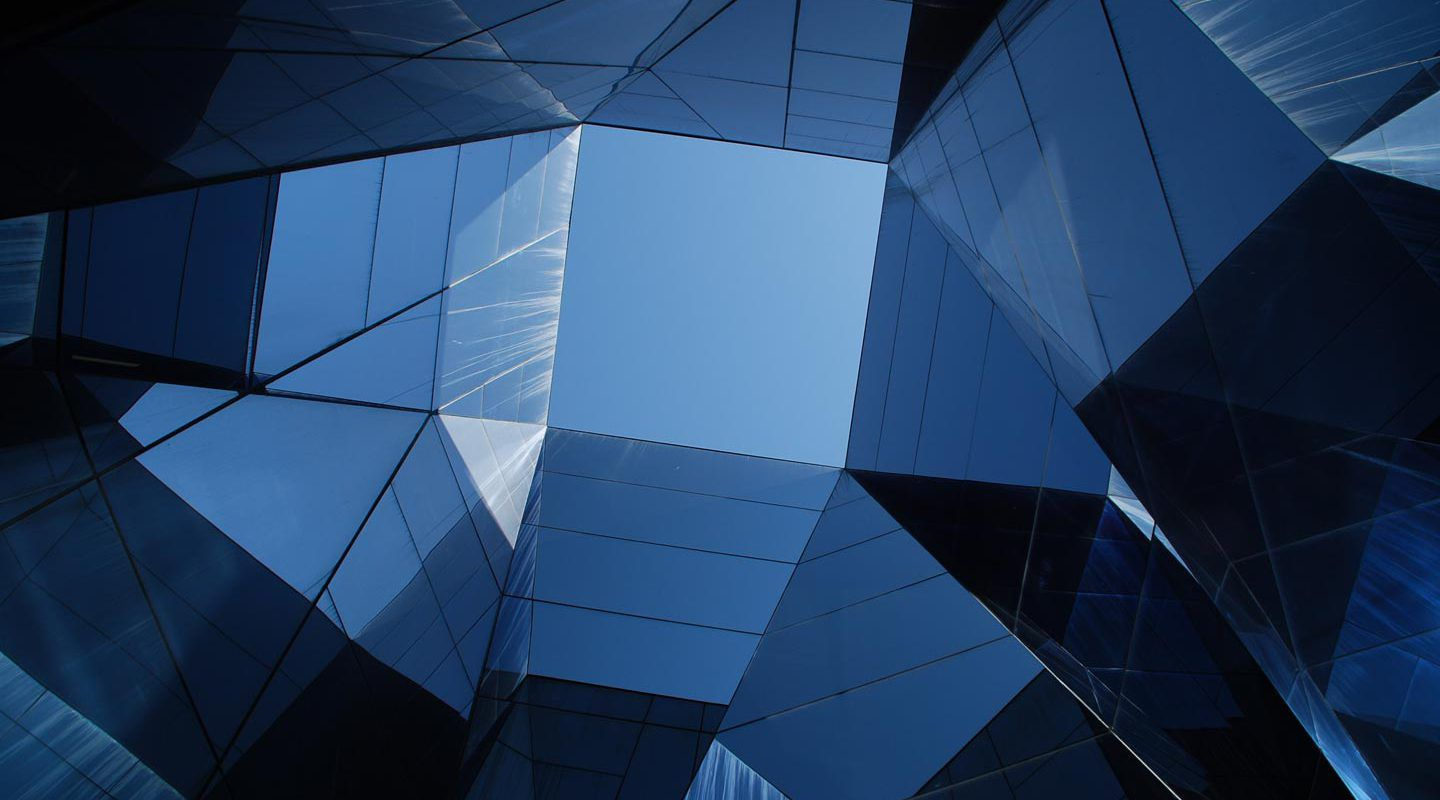 abstract blue glass architecture