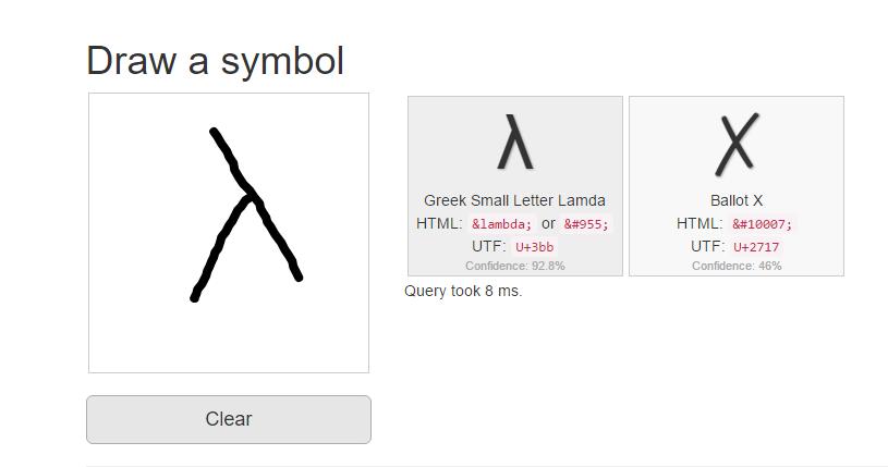 identify symbol by drawing it