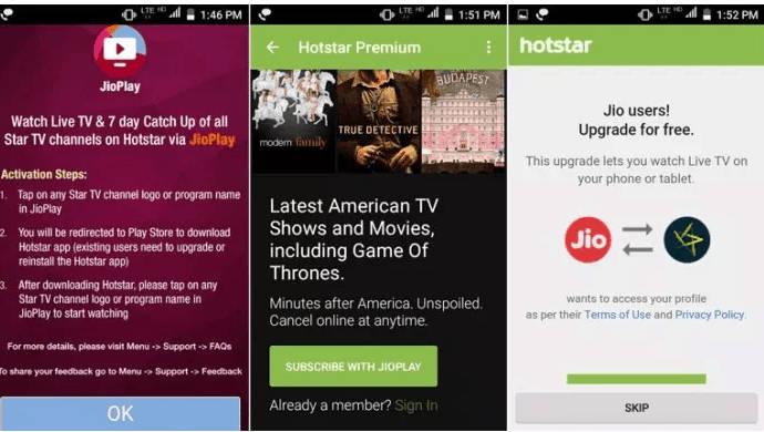 hotstar premium free for jio users