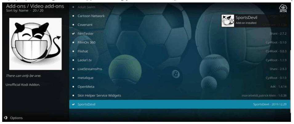 SportsDevil Downloaded