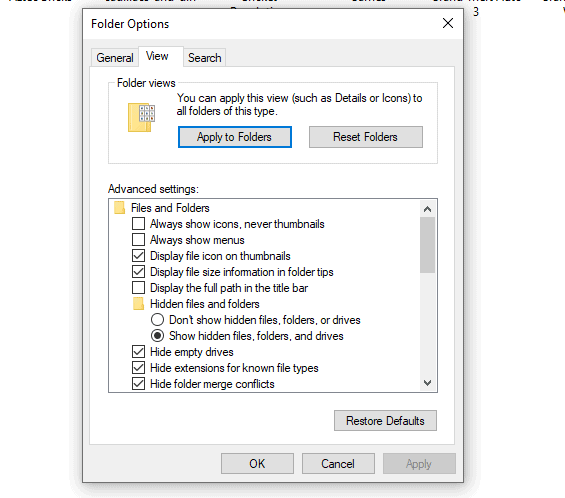 how to view all the folders as large