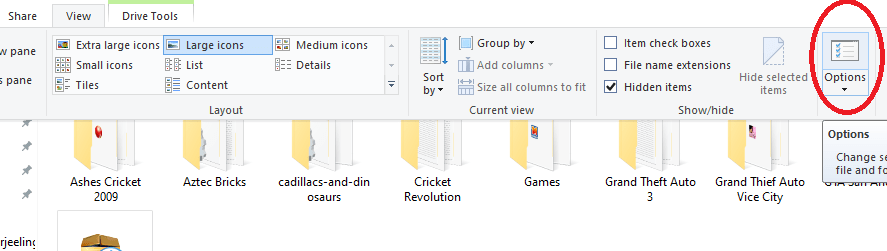 view folder as large icons