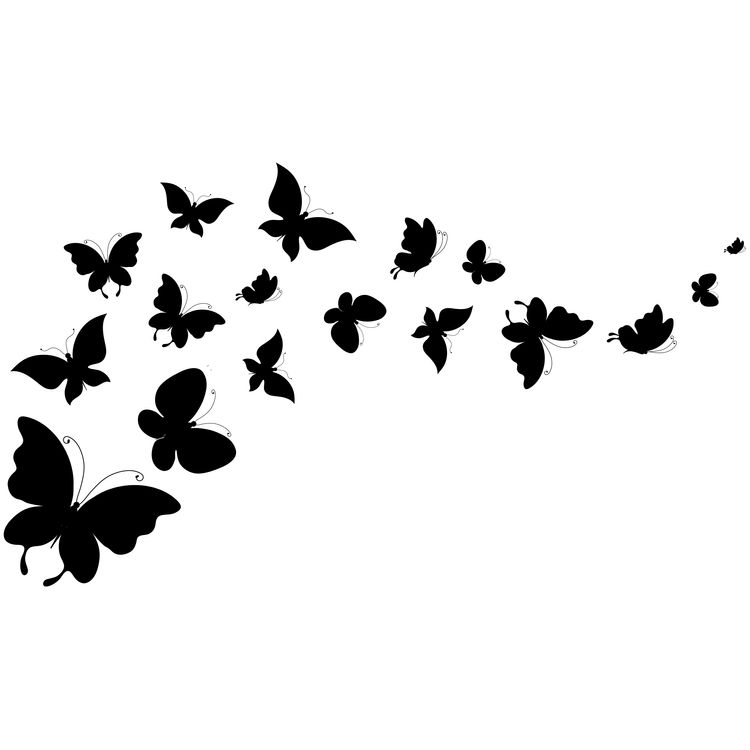 Flying black Butterflies