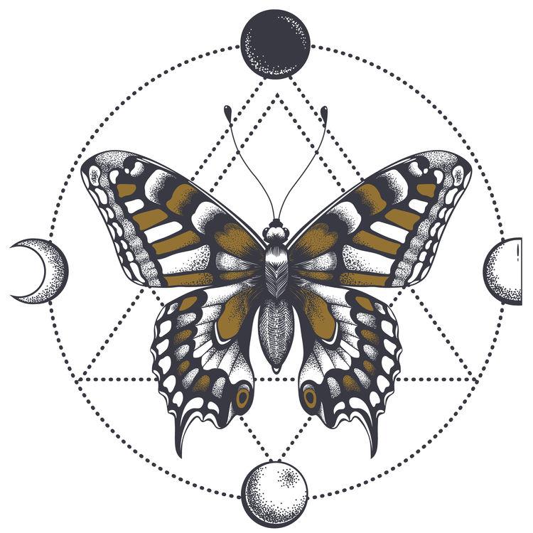 Moon Geometric Butterfly