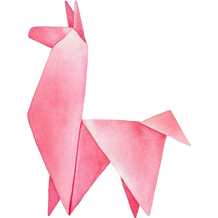 Origami Pink Llama
